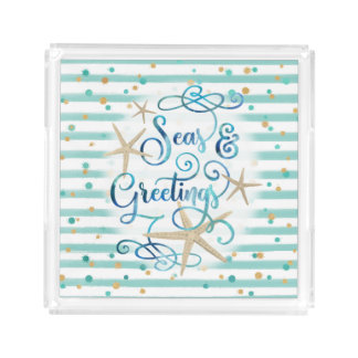 "Tropical ""SEAson's Greetings"" Aqua Stripe Acrylic Tray"