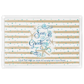 "Tropical ""SEAson's Greetings"" Brown Striped Acrylic Tray"