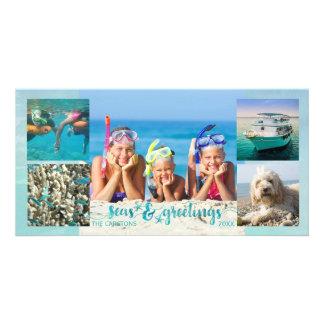"Tropical ""SEAson's Greetings"" Brush Script, 5 Pics Card"