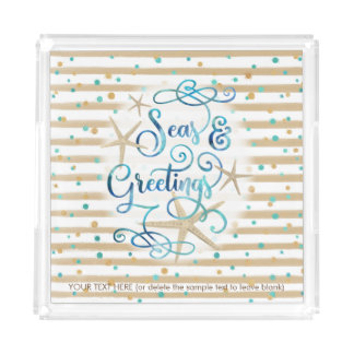 "Tropical ""SEAson's Greetings"" Dots & Brown Stripe Acrylic Tray"