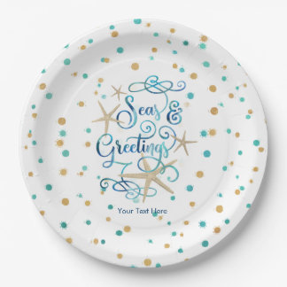 Tropical SEAson's Greetings Dots Party Paper Plate