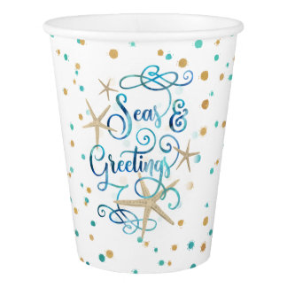 "Tropical ""SEAson's Greetings"" Dotted Paper Cup"