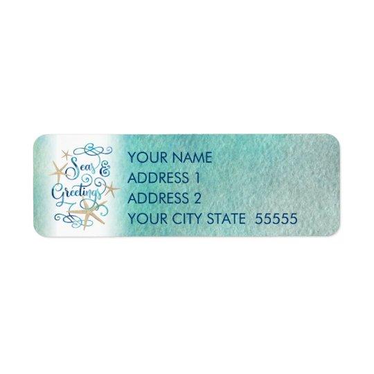 "Tropical ""SEAson's Greetings"" Starfish Return Address Label"