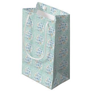 Tropical SEAson's Greetings, Teal Stripes & Dots Small Gift Bag