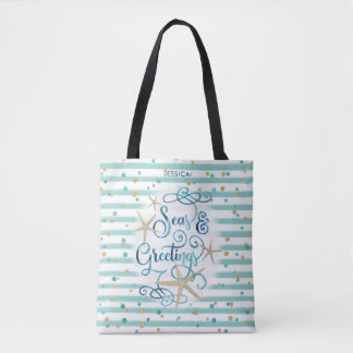 "Tropical ""SEAson's Greetings"" Teal Stripes & Dots Tote Bag"