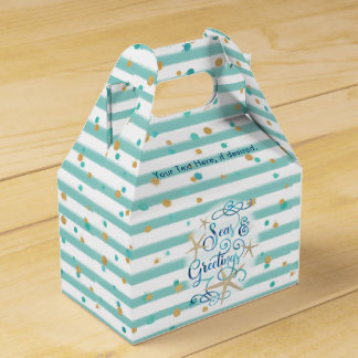 Tropical SEAson's Greetings, Teal Stripes & Dotted Favour Box