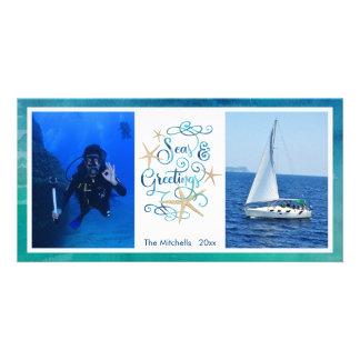 """Tropical """"SEAson's Greetings"""" Watercolor Ocean Card"""