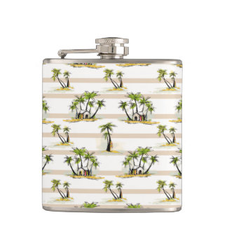 Tropical Shack And Palms Flask
