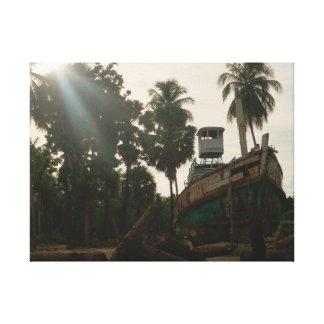 Tropical Shipwreck Landscape Canvas Print