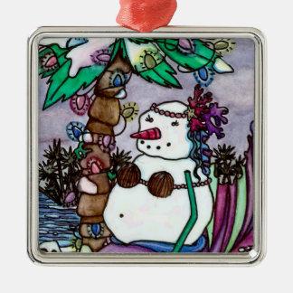 Tropical Snowmaid square ornament