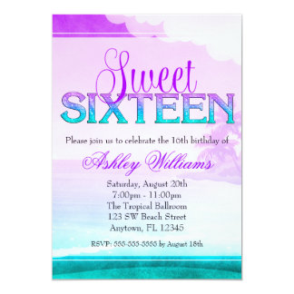 Tropical Sparkle Purple Aqua Sweet 16 13 Cm X 18 Cm Invitation Card