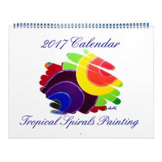 Tropical Spirals Art 2017 Calendar Huge 2 Page