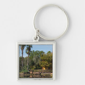 Tropical Springs Paradise Silver-Colored Square Key Ring