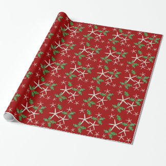 Tropical Starfish and Holly Red Christmas Paper