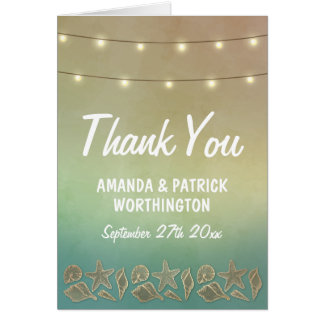 Tropical Starfish and Seashell Wedding Thank You Card