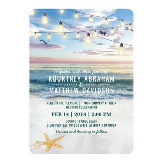 Tropical Starfish Couple Pineapple Beach Wedding Card