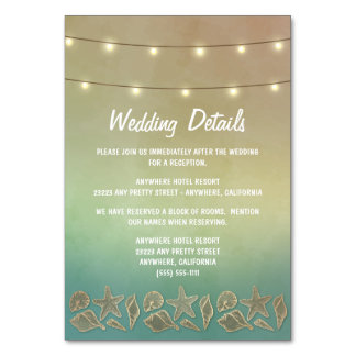 Tropical Starfish Seashell Reception + Hotel Cards Table Cards