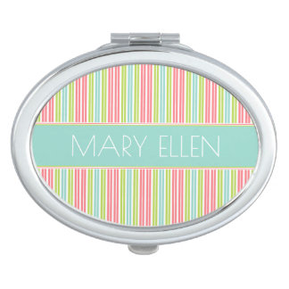 Tropical Stripes Personalized Vanity Mirror