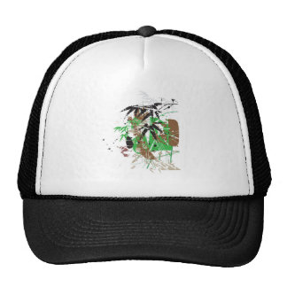 tropical style abstract bamboo design trucker hat