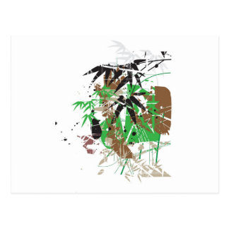 tropical style abstract bamboo design postcard