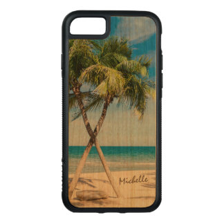 Tropical Summer Beach Palm Trees with Name Carved iPhone 7 Case