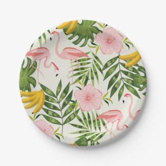 Tropical Summer Flamingo Paper Plate