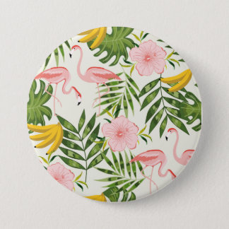 Tropical Summer Flamingo Round Button