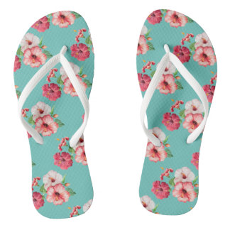 Tropical summer flowers thongs