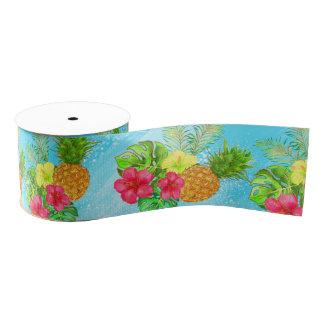 Tropical Summer gliiter Grosgrain Ribbon
