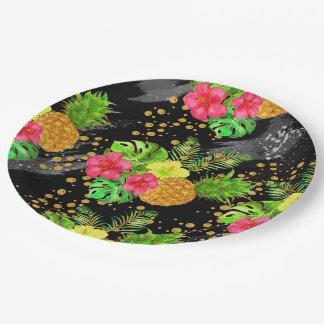 Tropical Summer Glitter Paper Plate