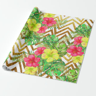 Tropical Summer Glitter Wrapping Paper