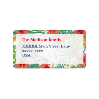Tropical Summer Hibiscus and Plumeria personalized Address Label