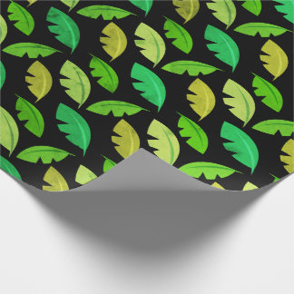 Tropical  summer leafs banana tree black emerald wrapping paper
