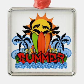 Tropical summer metal ornament