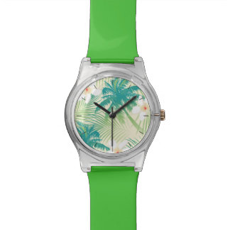 Tropical summer palm trees watch