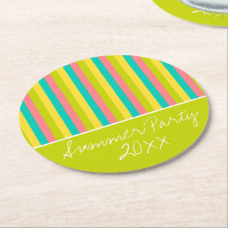 Tropical Summer Party Stripes Personalized Round Paper Coaster