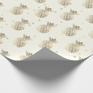 Tropical summer pineapple fruit gold sepia lux wrapping paper