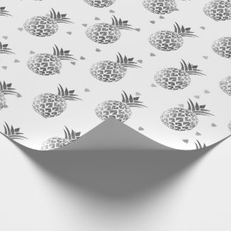 Tropical summer pineapple fruit gray silver dots wrapping paper