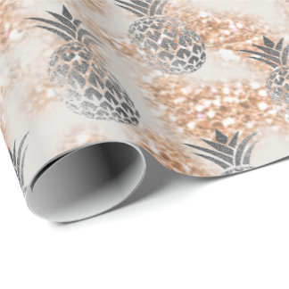 Tropical summer pineapple gray fruit peach glitter wrapping paper
