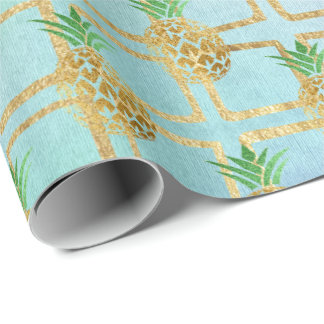 Tropical summer pineapple gray fruit peach gold wrapping paper