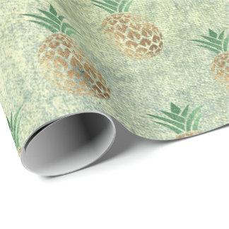 Tropical summer pineapple grungy gold mint fruits1 wrapping paper