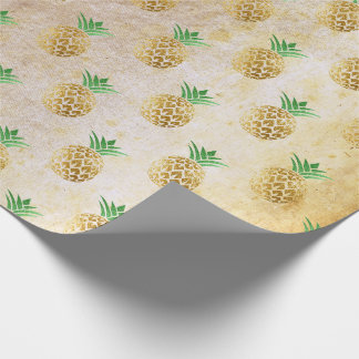 Tropical summer pineapple old gold mint fruits VIP Wrapping Paper