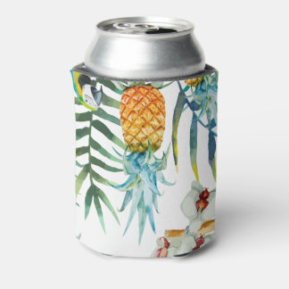 Tropical summer Pineapple Parrot Bird watercolor Can Cooler