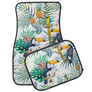 Tropical summer Pineapple Parrot Bird watercolor Car Mat