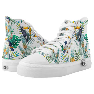 Tropical summer Pineapple Parrot Bird watercolor High Tops