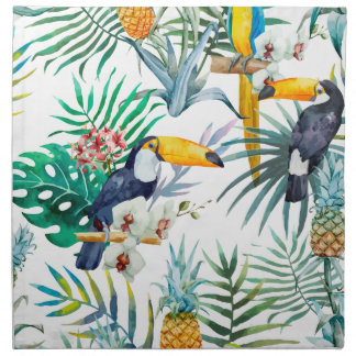 Tropical summer Pineapple Parrot Bird watercolor Napkin