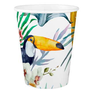 Tropical summer Pineapple Parrot Bird watercolor Paper Cup