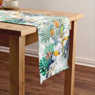 Tropical summer Pineapple Parrot Bird watercolor Short Table Runner