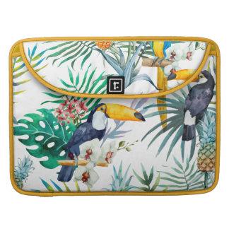 Tropical summer Pineapple Parrot Bird watercolor Sleeve For MacBooks
