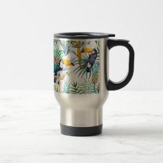 Tropical summer Pineapple Parrot Bird watercolor Travel Mug
